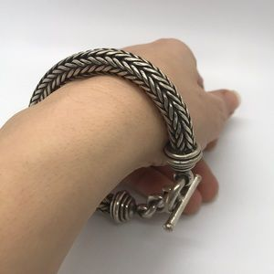 .925 Sterling Silver Statement Toggle Bracelet